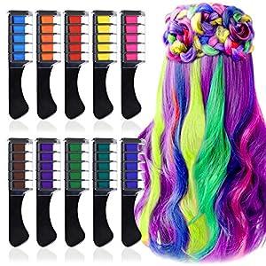 10 Colores Tinte para el Cabello Tiza de Pelo con Tapa, EBANKU Temporal Cabello Tiza Color Peine Coloración de Cabello Tinte no Tóxico Color de Tiza para Niñas y Niños Pelo Teñido