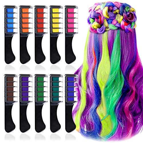Kalolary 10 Colors Temporary Hair Chalk Set, Washable Color Hair Comb for Girls Kids St. Patrick's...