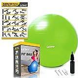 LETWY Palla Fitness | 65 cm, Verde | Nuova Versione 2020 con Poster Esercizi-Ginnastica, Fitball Fit...