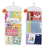 ProPik Hanging Double Sided Gift Bag Storage Organizer with Multiple Front and Back Pockets - Organize Your Gift Wrap, Tissue Paper, and Paper Bags 38 x 16 Inch PVC (White)