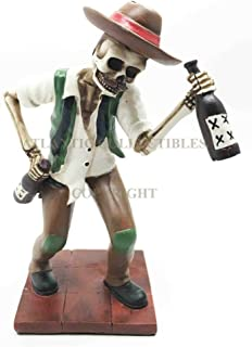 Ky & Co YK Day of The Dead Skeleton El Borracho Drunkard Tavern King Figurine Statue