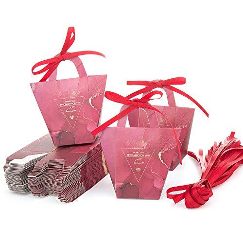 Maojuee Cajas de Boda Regalo 50 Pcs Caja de Regalo para Caramelos Regalo Bonitas Cajas Regalo Cajas de Caramelos Regalo Dulces para Boda Bautizo Cumpleaños Navidad Graduación Comunión (Rojo)