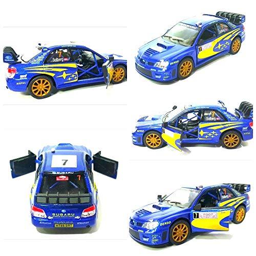 Subaru Impreza WRC 2007 Modèle de voiture Rallye Sports 1:36 Échelle Diecast Metal par Kinsmart Ouverture très détaillée Portes Pull Back Go Action Qualité Modèle voiture