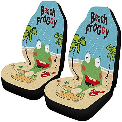 Enoqunt leuke kikker in regenachtige strand-voorste autostoelhoezen, voorstoel-stoel