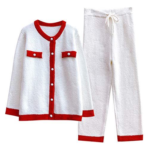 YSKDM Ropa de Dormir de Hilo de Plumas Suaves Otoño Invierno Confort Pijamas de Mujer Pantalones Largos de Manga Larga Pijamas de Mujer Ropa de hogar Informal, Blanco, Talla única