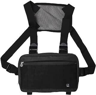 KMjungu Unisex Hip Hop Street Front Back Double Straps Vest Pack Multi Pocket Chest Bag Lightweight Messenger Bag Belt Bum Bag For Travel/Hiking/Outdoor Sports Black