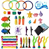 Diving Pool Toys, 36 Pack Fun Pool Toys, Sinking Swim Toys Underwater Treasures Games Swimming Pool Toys for Kids 3+, Teen Toddlers Boys and Girls Pool Summer Toys with a Storage Bean Bag and Gift Box