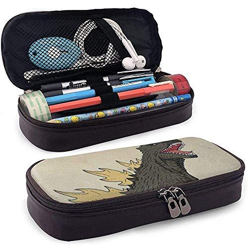 Estuche de lápices de cuero de la PU con cremallera, Estuche de marcador de almacenamiento de gran capacidad Dinosaur Sea Wave Estuche para bolígrafos, Bolsa de maquillaje