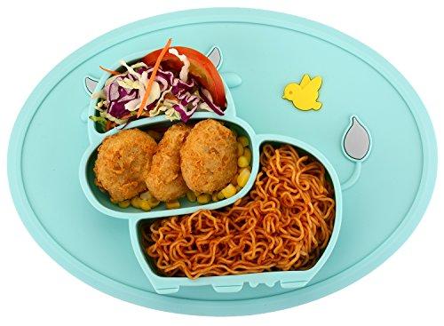 Qshare - Mini plato para bebés de silicona, 100% sin BPA y aprobado por la FDA para niños pequeños, Succión fuerte para la mesa, apto para lavavajillas