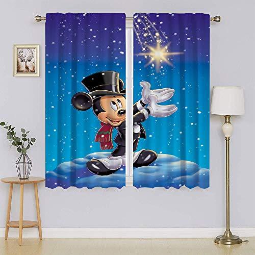 Mickey-Mouse - Cortina de ventana con ojales y aislamiento térmico para oscurecimiento de la habitación, cortina de ahorro energético para dormitorio/sala de estar de 137 cm de ancho x 182 cm de largo