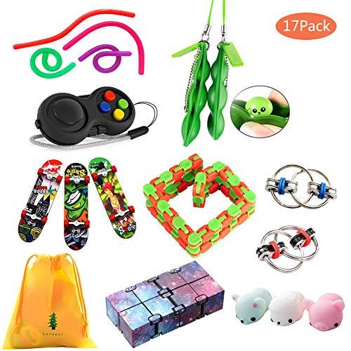 ZCOINS 17er Packung Fiddle Toys Autism Sensory Toys Zappelspielzeug Stressbälle für Erwachsene und Kinder