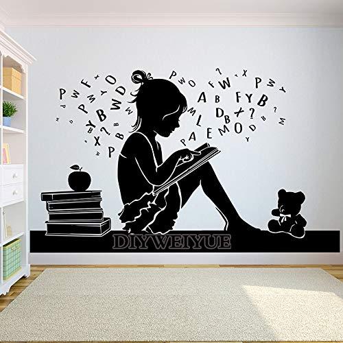 Lectura de libros librería estantería librería pegatinas de letras inspiradoras pared del hogar