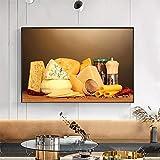 Cocina Moderna Comedor Queso Naturaleza Muerta Cartel Lienzo Pintura Arte de la Pared Impresiones Imágenes para el hogar Arte Restaurante Decoración (70x110cm Sin Marco