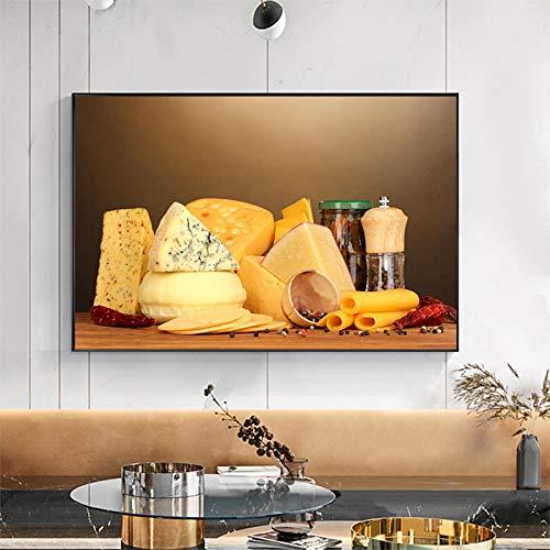Dipinto Su Tela Cucina Moderna Sala Da Pranzo Formaggio Still Life Poster Stampe Su Tela Immagini...