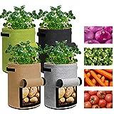 4 Pezzi Coltivazione Patate Sacchi, Borsa per la Crescita delle Piante in Vaso da Fiori in Tessuto Non Tessuto, per Patate, Carote, Cipolla e Ortaggi,10 gallons