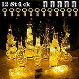 12 Stück AD ADTRIP 20 LEDs 2M Flaschen Licht Warmweiß, Lichterkette für Flasche LED Lichterketten Stimmungslichter Weinflasche Kupferdraht, batteriebetriebene für Flasche DIY, Dekor,Weihnachten