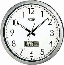 Rhythm CFG702NR19 Silver Quartz Analog Wall Clock Plus LCD Date Day Calendar 42 cm 16 Inch Auto Date Change Even in Short ...