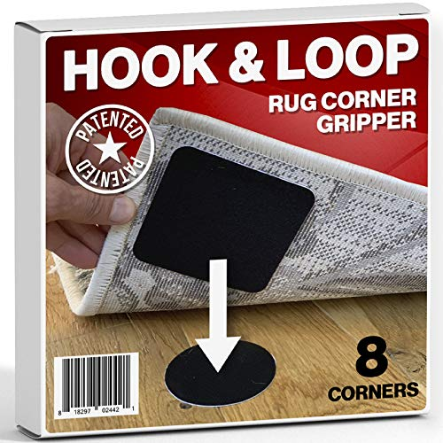 Hook and Loop Square Premium Rug and Carpet Gripper with Renewable Sticky Tape - Keep Your Rugs Secured - 8 Corners Area Rug Pads for Hardwood Floors Tiles and Runners - Patented