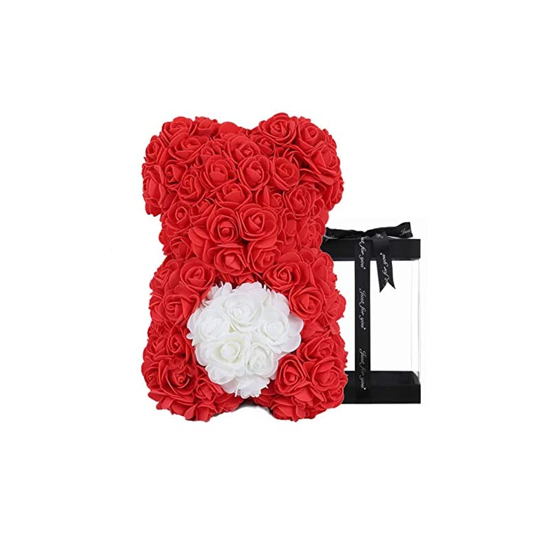 silk flower arrangements rose flower bear - fully assembled rose teddy bear - over 300 dozen artificial flowers - gift for mothers day, valentines day, anniversary & bridal showers gifts for girls women (red, 10inc)