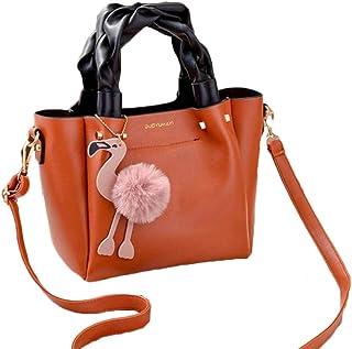 Female Bag Handbag Ladies Phone Pocket Soft Woman Handbags Flap Flamingo Tassel Leather Women Shoulder Crossbody Bags,Orange,S