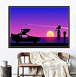 Xin Yao Store Rick Y Morty Regreso Al Futuro Hot Cartoon TV Exposición De Arte Pintura De Seda sobre Lienzo Cartel De La Pared Creatividad Decoración para El Hogar40X60CM