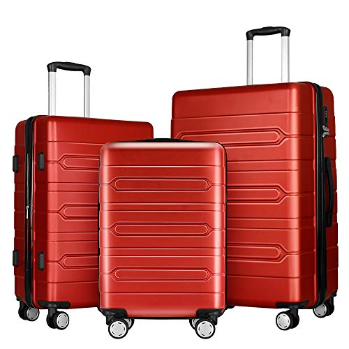 FOCHIER 3 PCS Luggage Sets Lightweight Hard Shell Suitcase with TSA Lock 360° Spinner Wheels 20'24'28',Red