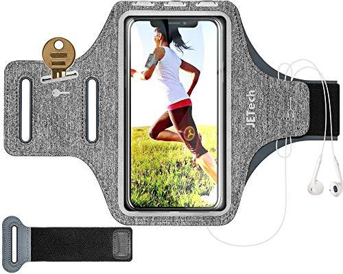 JETech Brazalete Deportivo Compatible iPhone SE(2020)/11/11 Pro/XR/XS/X/8 Plus/7 Plus/8/7, Galaxy S10/S9/S9+,Correa Ajustable, Equipado con Soporte para Llave y Tarjeta, para Correr, Senderismo, Gris