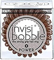 invisibobble Power Coil Hair Ties - Pretzel Brown (Pack of 3) - Extra Strong Elastic Grip For Thick Hair, Hair Accessories for Women, For All Hair Types, Teen and VSCO Girl