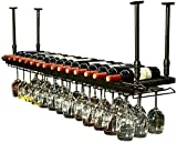 Bedspread Wall Wine Racks Metal Iron Storage Shelf in Bar Loft Cube Ceiling Wall Mounted Hanging Wine Champagne Glass Goblets Stemware Rack Wine Bottle Holder (Color : Bronze, Size : 120×30cm)