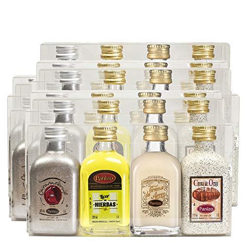 Caja de 14 estuches de licores Panizo para regalar. Licores miniaturas de 20 cl. de Licor de Hierbas, Crema de Orujo, Crema de Arroz y Caramelorujo Panizo