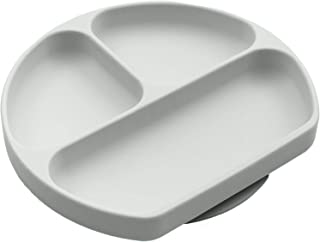 Silikong Suction Plate for Toddlers | BPA Free | Microwave, Dishwasher and Oven Safe | Fits Most Highchair Trays | Stay Put Divided Baby Feeding Bowls and Dishes for Kids and Infants (Gray)