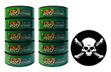 Hooch Herbal Snuff Wintergreen Fine Cut 10 Cans with DC Crafts Nation Skin Can Cover - Jolly Roger