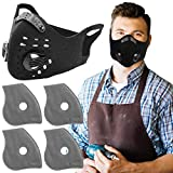 AIRNEX Dust Mask for Woodworking, Construction, Sanding, Mowing - with 4 Activated Carbon Filters - 5 Layers Filtration for Dust Protection - Reusable Dust Mask with Breathing Valve