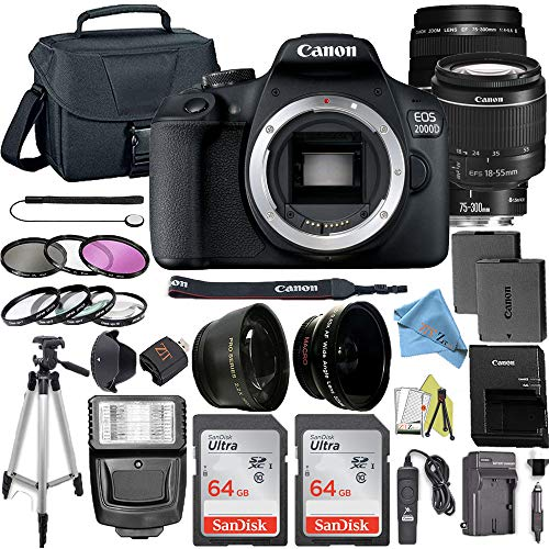 Canon EOS 2000D / Rebel T7 Digital DSLR Camera Body with 24.1MP CMOS Sensor with 75-300mm & 18-55mm Lens + 2 Pcs SanDisk 64GB Memory Card + Camera Bag + Accessories Bundle (64GB Card)