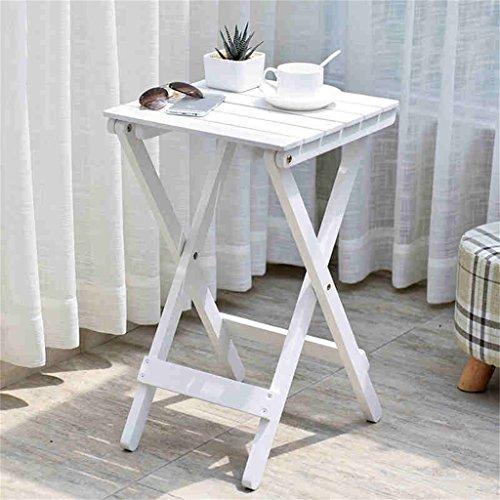 QFF Nordic Simple Solid Wood Flower Racks Salon Balcon Table de pliage paresseuse Table à café Petite table à l'extérieur ( Couleur : Blanc )