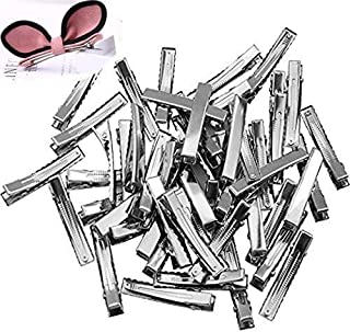 TANG SONG 150PCS 1.8'' Length Silver Tone Barrette Blank Hair Clips Flat Top with Teeth DIY Crafts Arts Projects Hairbow Accessory