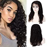 25cm-55cm Parrucca Donna Capelli Veri Ricci Lace Front 50cm-190g Wig Nera Lunga Silk Top 100% Human Hair Deep Wave Parrucche 130% Densità - Nero Naturale