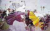 Papel tapiz fotográfico Hoja de loto abstracto 3D Lana Fondo De Pantalla XXL Papel pintado tejido no tejido Moderna Decoración De Pared Sala Cuarto 200 X 150 cm