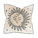 Alarge - Bufanda cuadrada de seda para mujer, diseño de galaxia, luna, estrella, protector solar, ligera, suave, pañuelos, bufandas envolventes y silenciador para mujeres y niñas