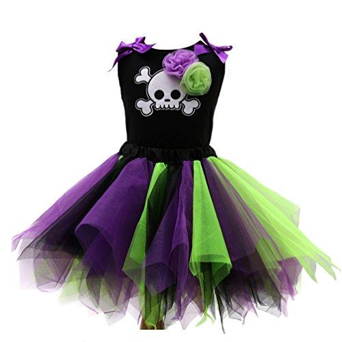 Sronjn Le ragazze vestono Girls Halloween stampate senza maniche Vest gonna colore set Casual Stile 3
