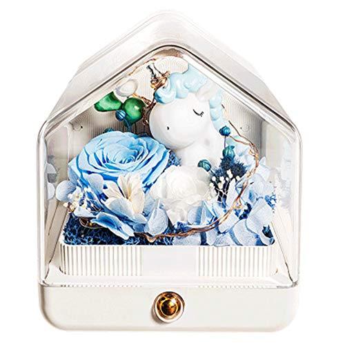 GPWDSN Onsterfelijke bloemen, bluetooth-luidspreker, led-nachtlampje, echte betoverde rozen, voor dames, vriendin, Valentijnsdag, romantische betoverde muziekspeler, uniek cadeau