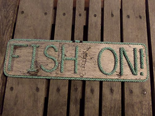 FISH ON! Sign Made with Rope Letters on Pallet Wood Great Gift for Fisherman Nautical Decor