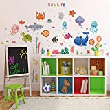 Sea Life Wall Stickers Under The Sea Fish Wall Decor, DILIBRA Removable Peel and Stick Waterproof Wall Art Stickers Decals for Kids Room Nursery Living Room Bathroom Playroom Classroom