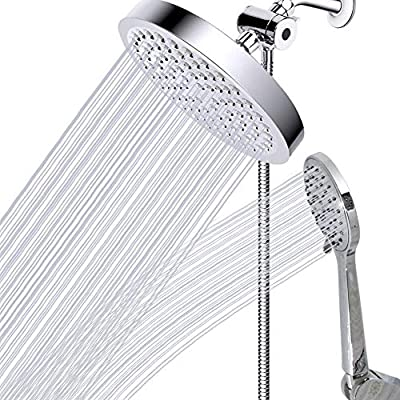 Dual shower heads with handheld spray -detachable sprayer and extra long hose-luxury chrome finish shower head combo with 3 setting diverter attachment
