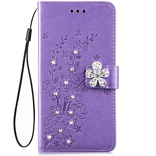 Hpory - Custodia per Samsung Galaxy S5 Neo, in pelle sintetica con strass, con cinturino da polso, motivo floreale, colore: Viola
