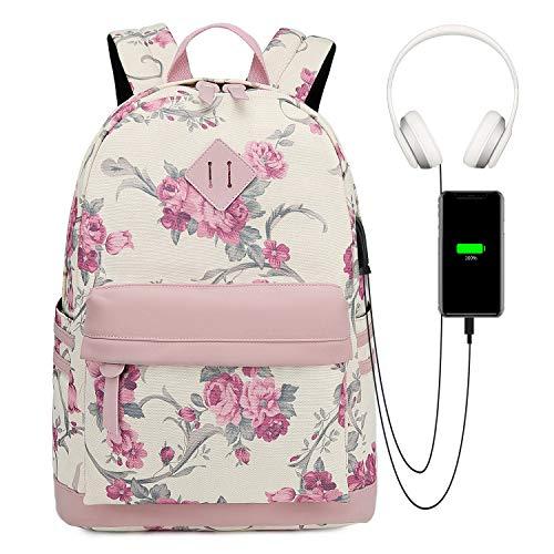 Myhozee Rucksack Damen Canvas Schulrucksack Mädchen, Rucksack Schule 14 Zoll Laptop Rucksäcke mit USB Ladeanschluss Floral Tasche Daypack für Schule Uni Jugendliche Mädchen Teenager - Rosa