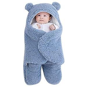 Baby Hooded Swaddle Blanket,Newborn Winter Infant Soft Warm Wrap Warm Fleece Sleeping Bag for Boys and Girls