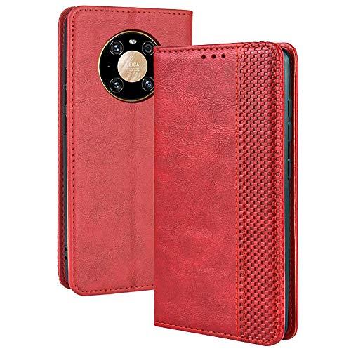 TANYO Leder Folio Hülle für Huawei Mate 40 Pro, Premium Flip Wallet Tasche mit Kartensteckplätzen, PU/TPU Lederhülle Handyhülle Schutzhülle - Rot