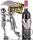 BRUBAKER Weinflaschenhalter Paar mit Regenschirm - Deko-Objekt Metall - Flaschenständer - mit Grußkarte für Weingeschenk