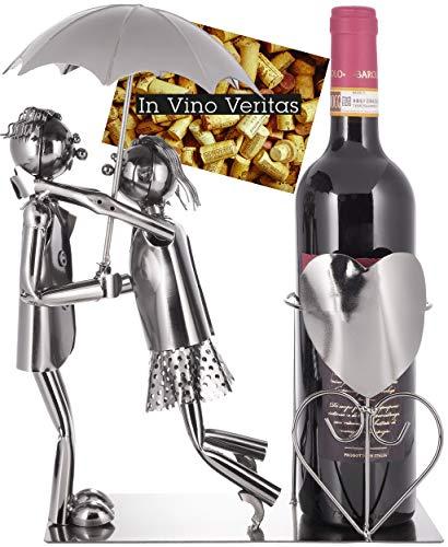 BRUBAKER Porta Botella de Vino - Par con Paraguas - Objeto Decorativo - Soporte de Botella - Metal - con Tarjeta de Felicitación